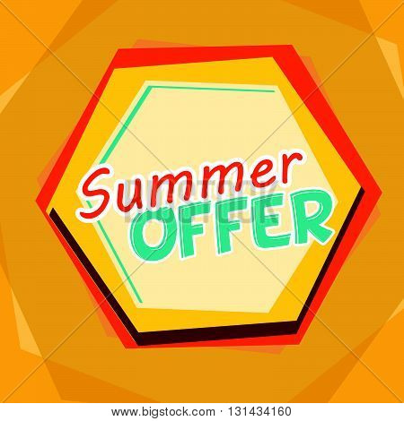 summer offer banner - text in yellow, orange and blue cartoon drawn label, business seasonal shopping concept, vector