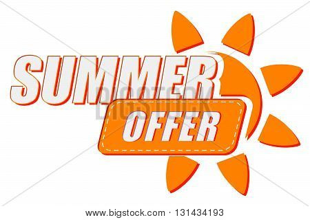 summer offer with sun sign, flat design label, business seasonal shopping concept, vector