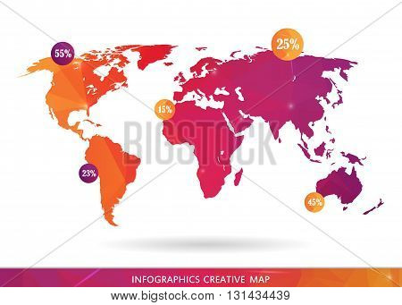 Abstract creative concept vector map of the world for Web and Mobile Applications isolated on background. Vector illustration, creative template design, Business software and social media, origami.