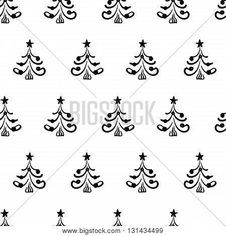 Seamless vector christmas pattern with hand drawn doodle fir trees