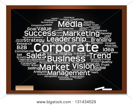 Concept or conceptual business, strategy and marketing abstract word cloud on blackboard with chalk background