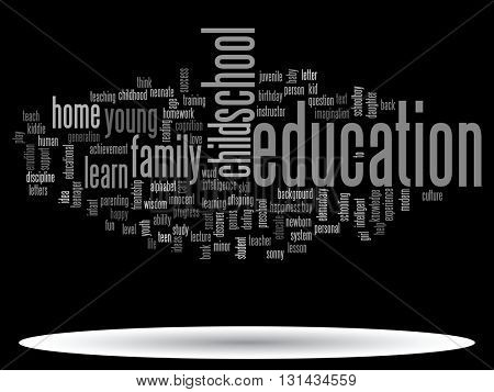 Concept or conceptual child education or family abstract word cloud isolated on background