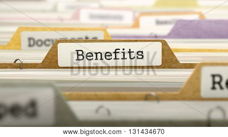 Folder in Colored Catalog Marked as Benefits Closeup View. Selective Focus. 3D Render.
