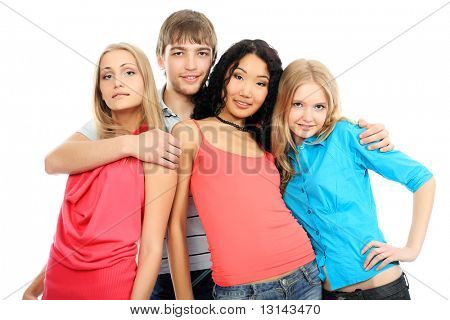 Group of a cheerful young people. Education, holidays.