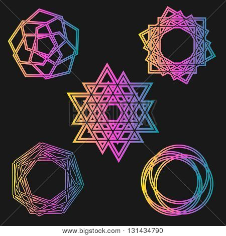 magic background celtic knot shape signs - vector mysterious neon set signs