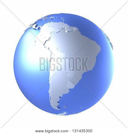South America On Bright Metallic Earth