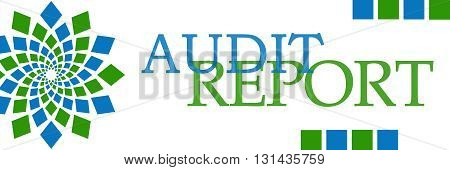 Audit report text written over green blue background.