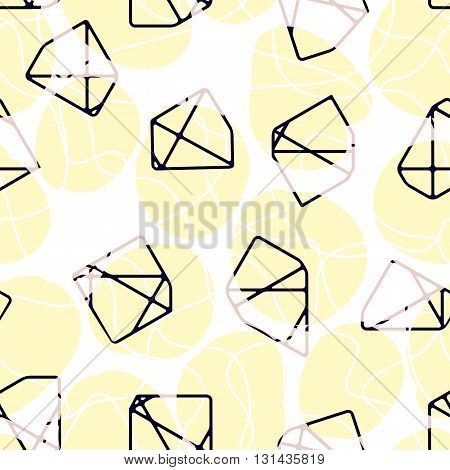 Vector seamless pattern of abstract stones and shapes. Modern graphic design. Decorative trendy pattern.