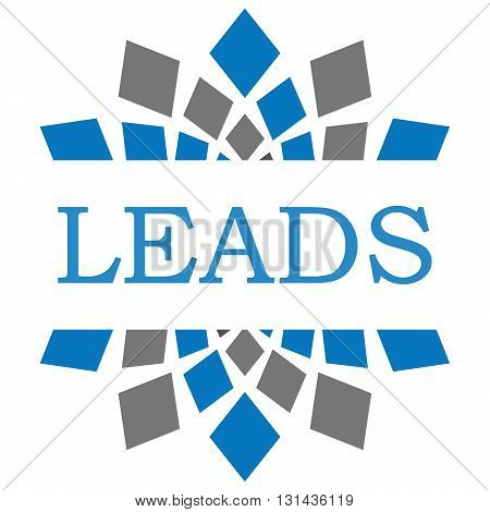 Leads text written over blue grey circular background.