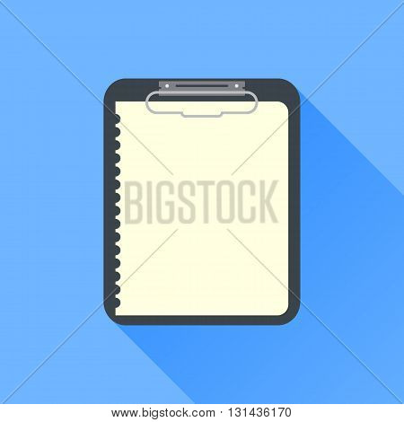 note icon on blue background with long shadow