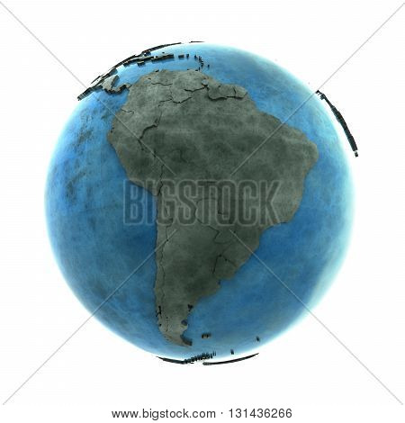 South America On Marble Planet Earth