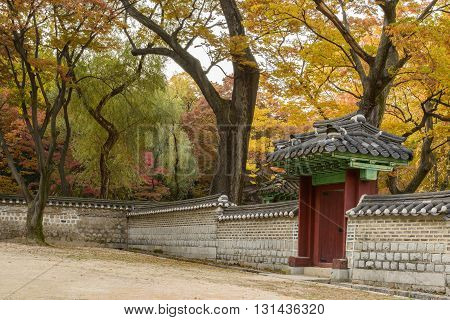 The outdoor gate and wall of Changdeokgung Palace, Seoul, South Korea