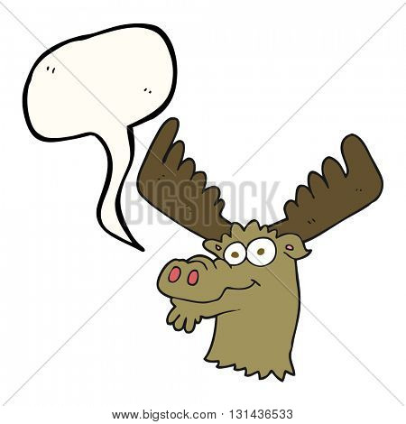 freehand drawn speech bubble cartoon moose
