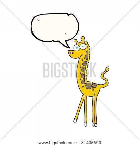 freehand drawn speech bubble cartoon giraffe