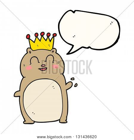 freehand drawn speech bubble cartoon waving hamster