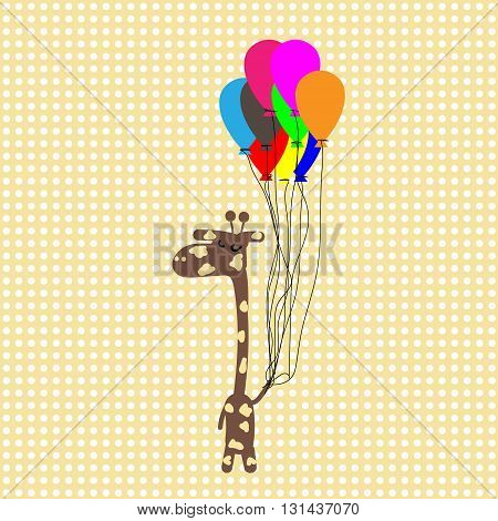 Funny camelopard in yellow dots background funny giraffe flying on balloons on vintage yellow background with white polka dots