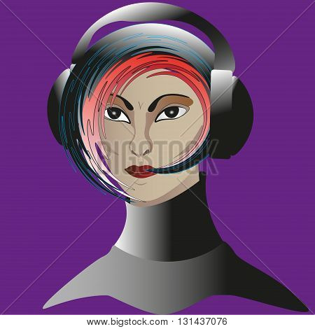 Portrait of a girl in black headphones Drawing a portrait of a girl in black headphones with a modern hairstyle listening to music on a violet background for decoration and design