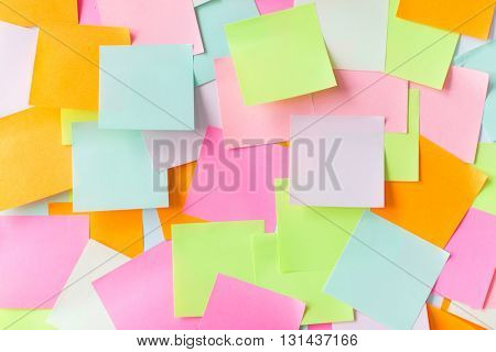business, information, memo, management and education concept - close up of colorful paper stickers