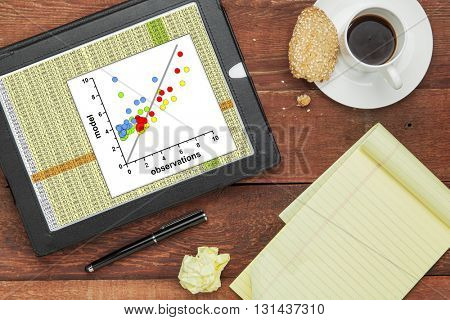 Scatter graph of model and observation data with a worksheet  on a digital tablet - science research and analysis concept. All screen graphics created by the photographer.