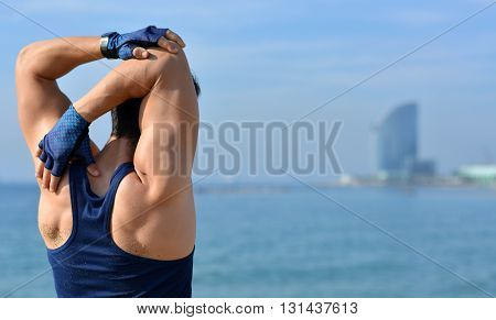 Athlete Practicing Muscle Stretching Outdoors