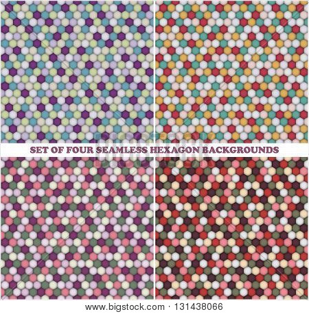 Set of four seamless colored hexagon backgrounds. Vector illustration
