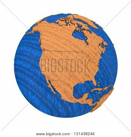 North America On Wooden Earth