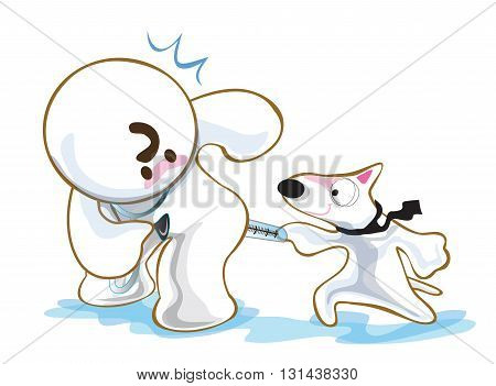 Dog in clinic hospital to kidding his vet have fun. Pantomime cute cartoon acting white background on isolate.