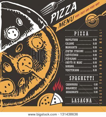 Pizza menu creative vector design concept on black chalkboard background.