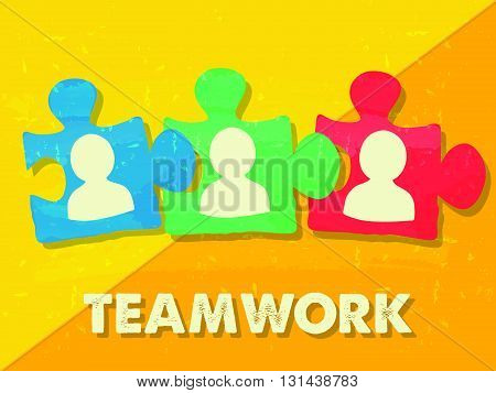 teamwork and puzzle pieces with person signs over yellow background, grunge flat design, business team building concept, vector