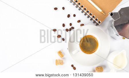 coffee, milk and espresso maker on white background
