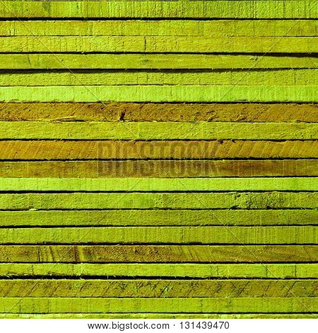 Square Shape Green and Sand Colored Background of Cracked Wooden Plank closeup
