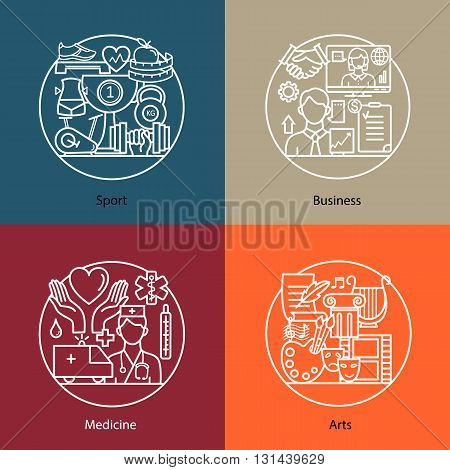 Vector set of logos sport, business, medicine, arts. Modern thin line icons. The modern concept of a collection of vectors. Unique design elements for your company. Labels for school, College and University.