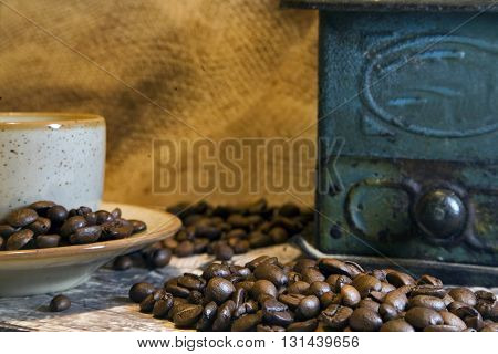 Cop of coffee with coffee beans isolated