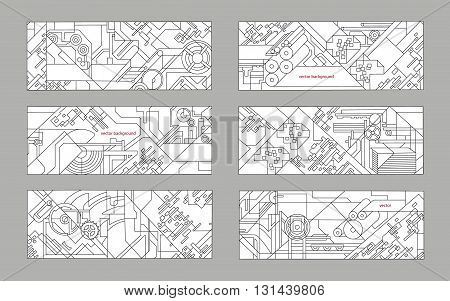 Abstract geometric background set. Vector background for printing and paper industry. Technical drawing of mechanisms and machine tools.