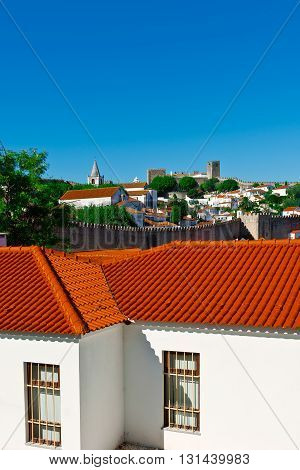 View to Historic Center City of Obidos in Portugal