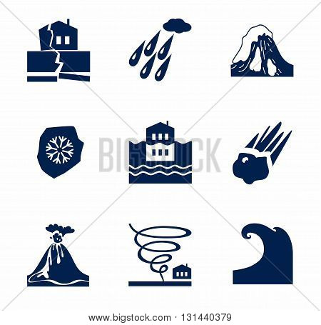 Vector icons of natural disasters and cataclysms. Dark blue image on a white background.