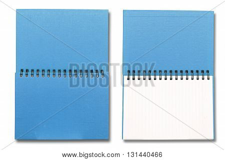 Blue sky note book on white color background
