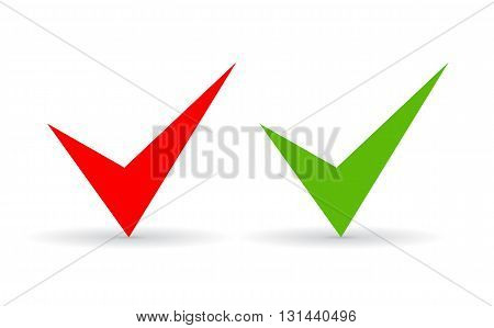 Green and red ticks set isolated on white background
