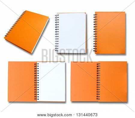 Orange note book collection on white background