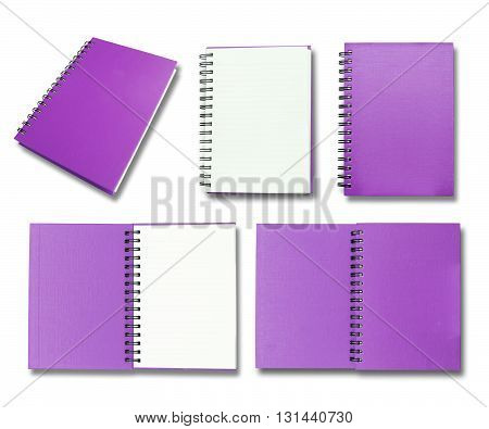 Purple note book collection on white backgrouund