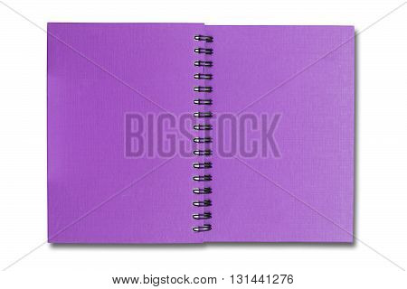 Purple Cover Note Book On White Color Backgground