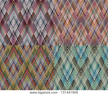 Set of 4 seamless geometric pattern in the boho style. African motif, abstract. - EPS10