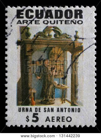 ZAGREB, CROATIA - SEPTEMBER 11: a stamp printed in Ecuador shows Showcase of St. Anthony, Quito Religious Art, circa 1971, on September 11, 2014, Zagreb, Croatia