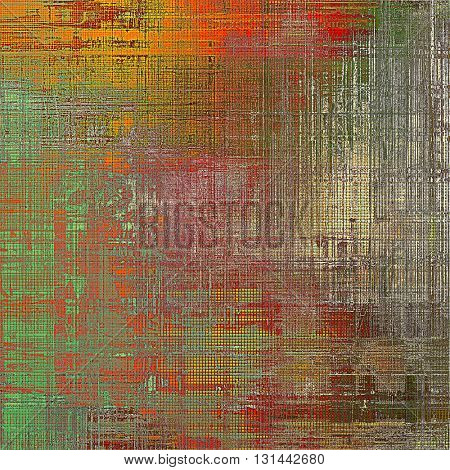 Vintage ancient background or texture with grunge decor elements and different color patterns: yellow (beige); brown; gray; green; red (orange); pink