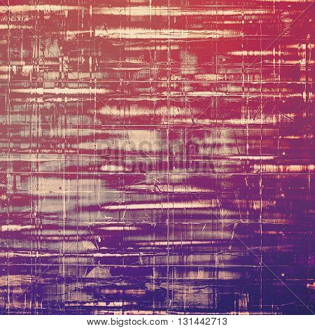 Vintage style background with ancient grunge elements. Aged texture with different color patterns: brown; gray; blue; red (orange); purple (violet); pink