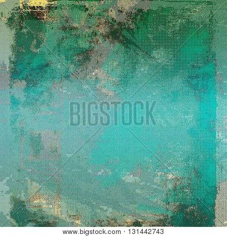 Old style decorative composition or designed vintage template with textured grunge elements and different color patterns: yellow (beige); gray; green; blue; cyan