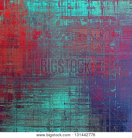 Vintage old-style texture, worn and rough grunge background with different color patterns: blue; red (orange); purple (violet); pink; cyan
