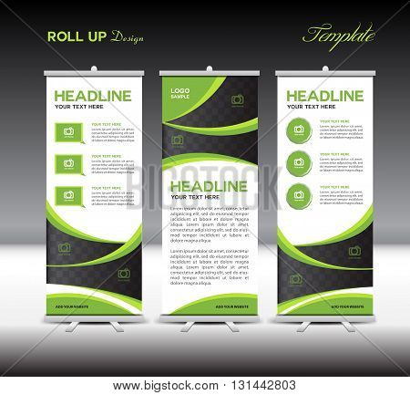 Green Roll Up Banner template vector illustration banner design standy template roll up display advertisement flyer template