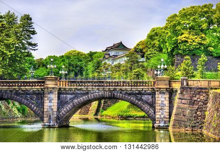 Imperial Palace with Nijubashi Bridge in Tokyo, Japan