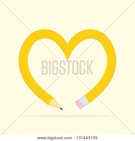 Yellow pencil heart shape isolated vector illustration